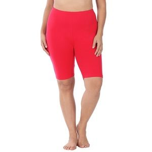Premium Cotton Red Biker Bike Shorts Plus Size 1X
